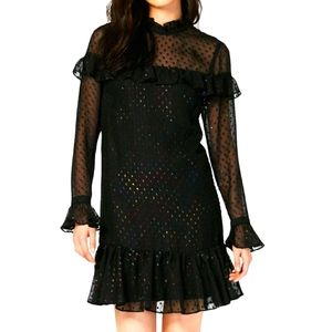 Betsey Johnson new black glitter ruffle mini dress